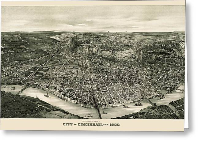 View Drawings Greeting Cards - Antique Map of Cincinnati Ohio by John L. Trout - 1900 Greeting Card by Blue Monocle