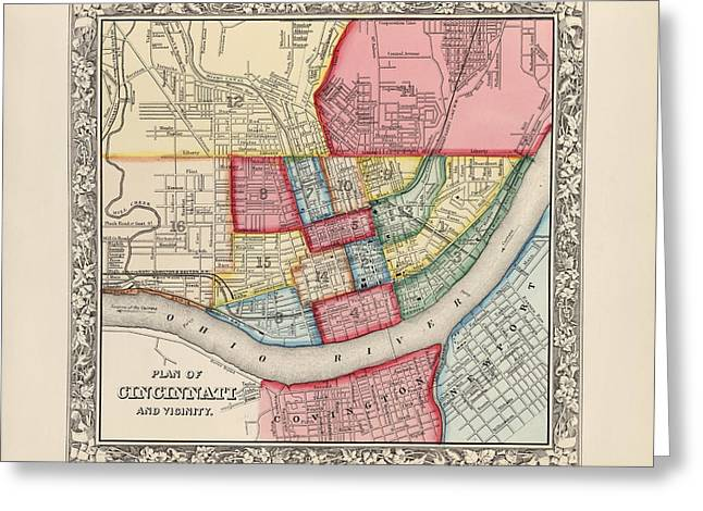 Augustus Greeting Cards - Antique Map of Cincinnati Ohio by Samuel Augustus Mitchell - 1863 Greeting Card by Blue Monocle