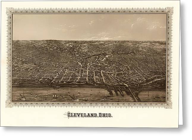 1880s Greeting Cards - Antique Map of Cleveland Ohio 1887 Greeting Card by Mountain Dreams