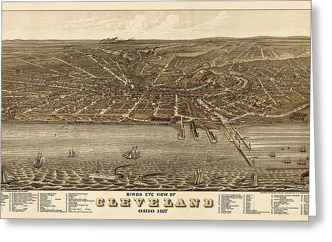 View Drawings Greeting Cards - Antique Map of Cleveland Ohio by A. Ruger - 1877 Greeting Card by Blue Monocle