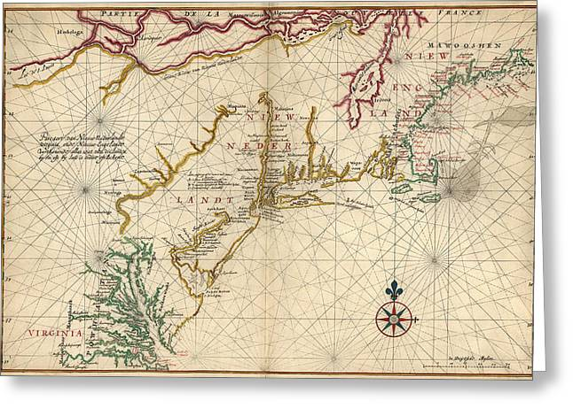 Mid-atlantic Greeting Cards - Antique Map of Colonial America by Joan Vinckeboons - circa 1639 Greeting Card by Blue Monocle