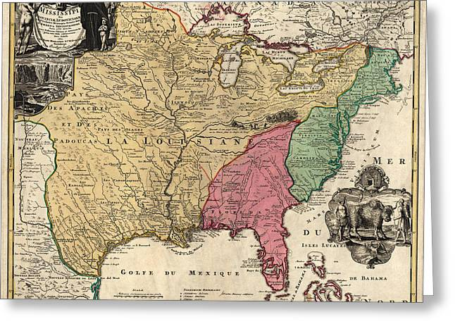 Colonial Greeting Cards - Antique Map of Colonial America by Johann Baptist Homann - circa 1763 Greeting Card by Blue Monocle