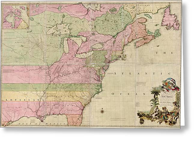 America Drawings Greeting Cards - Antique Map of Colonial America by John Mitchell - 1755 Greeting Card by Blue Monocle