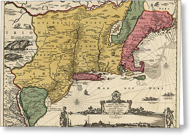 England Map Greeting Cards - Antique Map of Colonial America by Nicolaes Visscher - 1685 Greeting Card by Blue Monocle