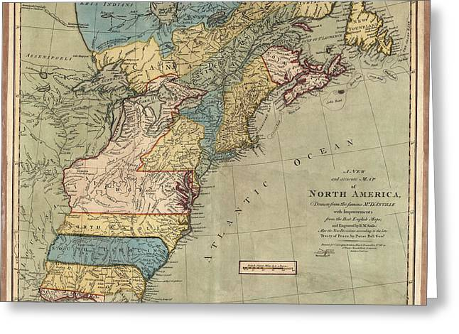 United States Drawings Greeting Cards - Antique Map of Colonial America by Peter Bell - 1771 Greeting Card by Blue Monocle