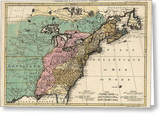 Colonial Greeting Cards - Antique Map of Colonial America by Reiner Ottens - 1755 Greeting Card by Blue Monocle