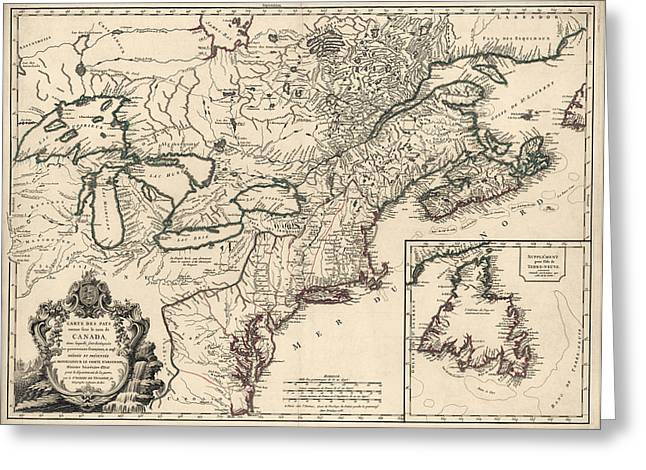 Mid-atlantic Greeting Cards - Antique Map of Colonial Canada and America by Didier Robert de Vaugondy - 1753 Greeting Card by Blue Monocle