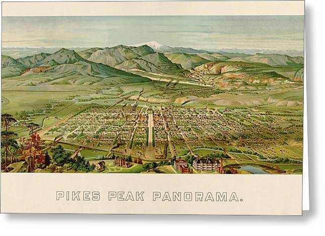 Garden Of The Gods Greeting Cards - Antique Map of Colorado Springs by H. Wellge - 1890 Greeting Card by Blue Monocle