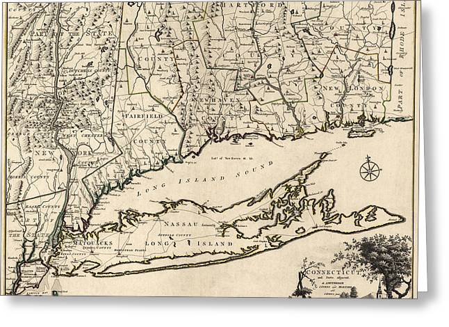 Connecticut Greeting Cards - Antique Map of Connecticut by Covens and Mortier - 1780 Greeting Card by Blue Monocle