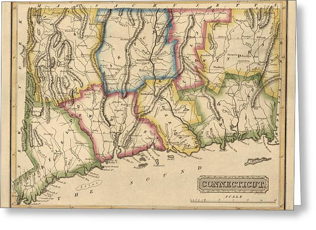 Connecticut Greeting Cards - Antique Map of Connecticut by Fielding Lucas - circa 1817 Greeting Card by Blue Monocle