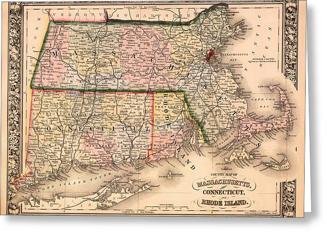 Rhode Island State Map Greeting Cards - Antique Map of Connecticut Massachusetts and Rhode Island 1864 Greeting Card by Mountain Dreams