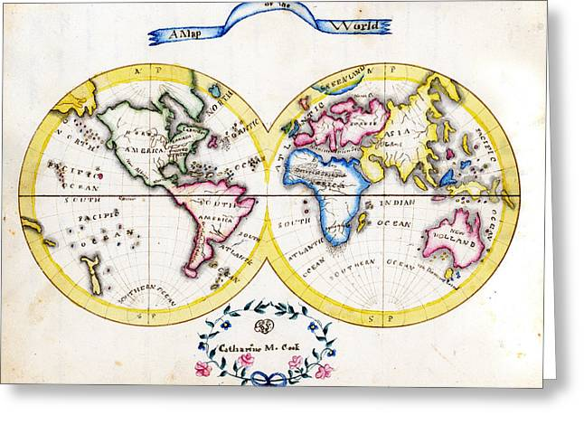Antique Map Paintings Greeting Cards - Antique Map of  cook world Greeting Card by Celestial Images