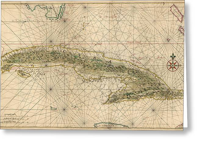 Cuba Greeting Cards - Antique Map of Cuba by Joan Vinckeboons - circa 1639 Greeting Card by Blue Monocle