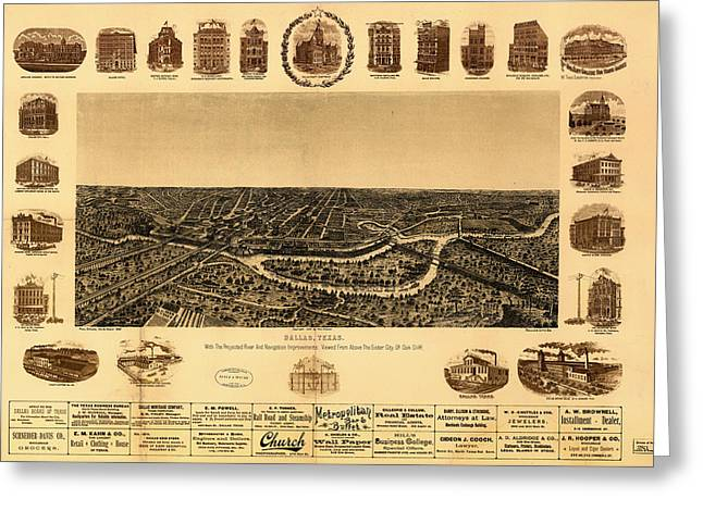 Universities Drawings Greeting Cards - Antique Map of Dallas 1892 Greeting Card by Mountain Dreams