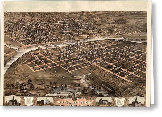Des Moines Greeting Cards - Antique Map of Des Moines Iowa by A. Ruger - 1868 Greeting Card by Blue Monocle