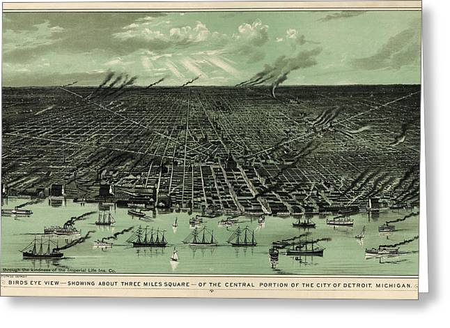 Birds-eye View Greeting Cards - Antique Map of Detroit Michigan - circa 1889 Greeting Card by Blue Monocle