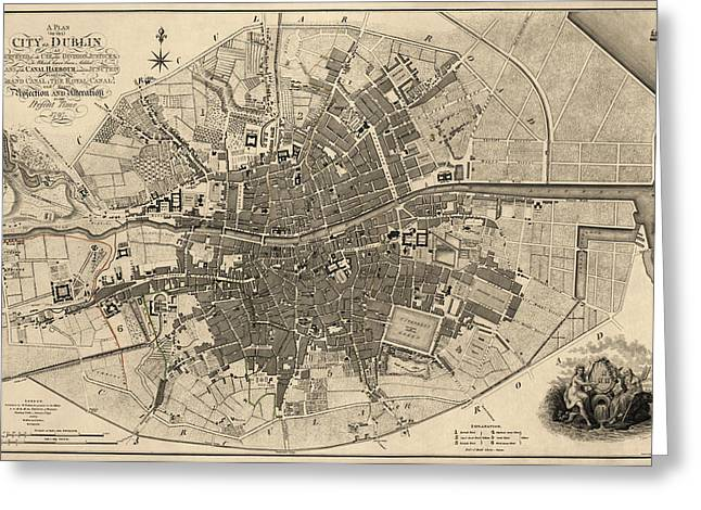 Antique Map Of Dublin Ireland By William Faden - 1797 Greeting Card by Blue Monocle