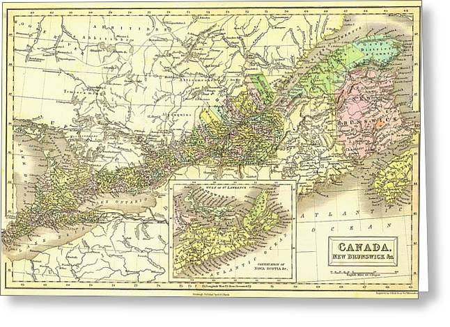 Old Country Roads Drawings Greeting Cards - Antique Map of Eastern Canada and New Brunswick 1851 Greeting Card by Mountain Dreams