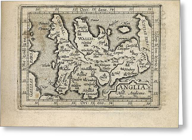 England Map Greeting Cards - Antique Map of England and Wales by Abraham Ortelius - 1603 Greeting Card by Blue Monocle