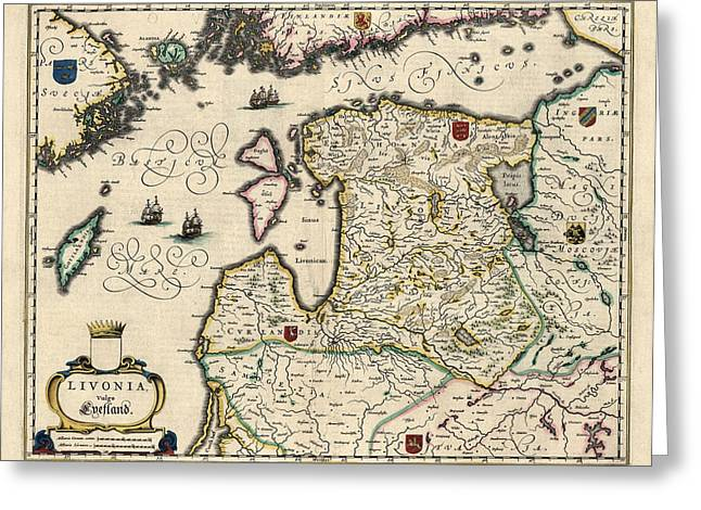 Lithuania Greeting Cards - Antique Map of Estonia Latvia and Lithuania by Willem Janszoon Blaeu - 1647 Greeting Card by Blue Monocle