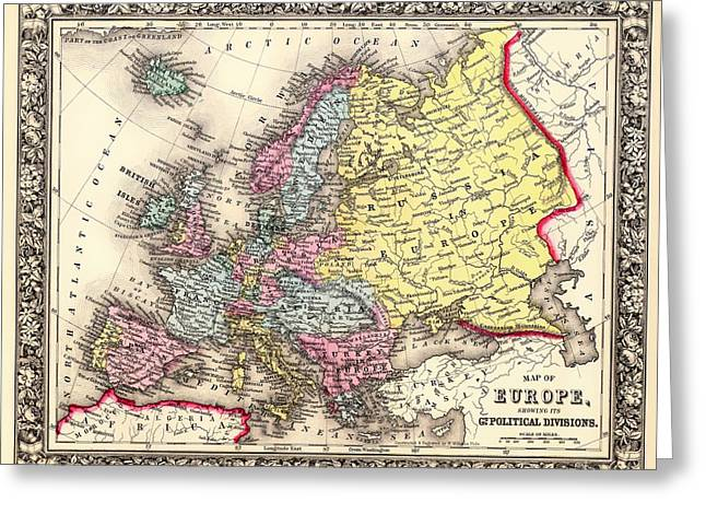 Old Country Roads Drawings Greeting Cards - Antique Map of Europe 1860 Greeting Card by Mountain Dreams