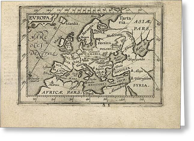 Europe Drawings Greeting Cards - Antique Map of Europe by Abraham Ortelius - 1603 Greeting Card by Blue Monocle