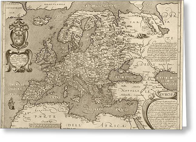 Old Europe Greeting Cards - Antique Map of Europe by Arnoldo di Arnoldi - circa 1600 Greeting Card by Blue Monocle