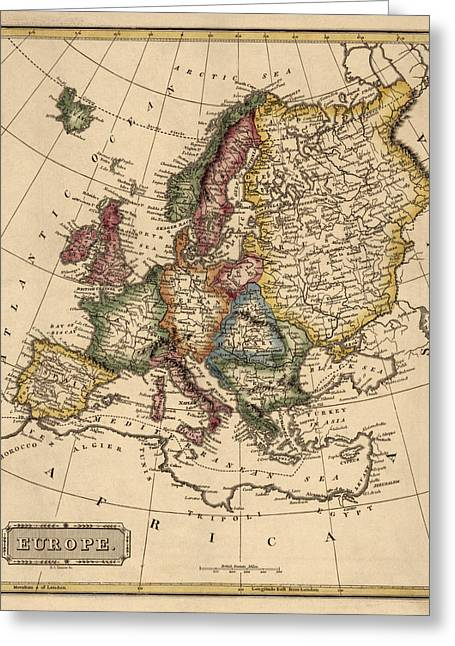 Europe Greeting Cards - Antique Map of Europe by Fielding Lucas - circa 1817 Greeting Card by Blue Monocle