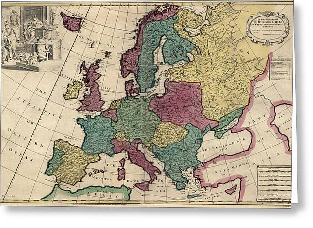 Europe Drawings Greeting Cards - Antique Map of Europe by John Senex - circa 1719 Greeting Card by Blue Monocle