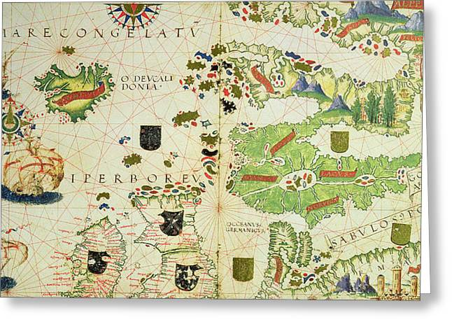 Atlas Greeting Cards - Antique Map of Europe Greeting Card by Pedro Reinel