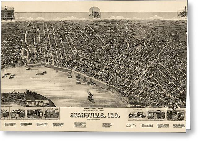 Indiana Art Greeting Cards - Antique Map of Evansville Indiana by H. Wellge - 1888 Greeting Card by Blue Monocle