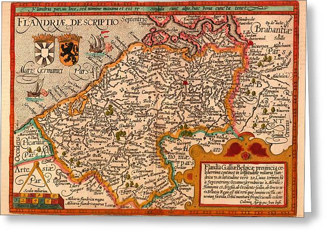 Old Country Roads Drawings Greeting Cards - Antique Map of Flanders Greeting Card by Mountain Dreams