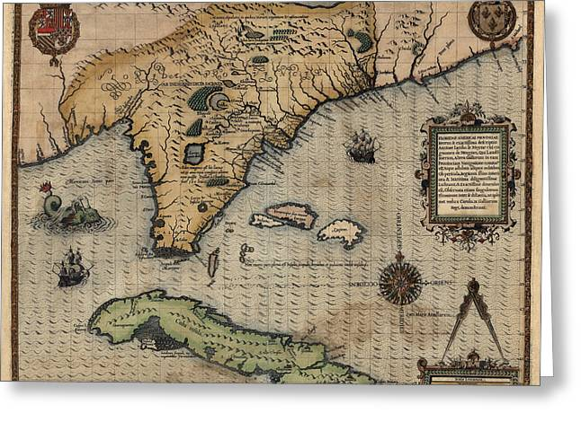Florida Gulf Coast Greeting Cards - Antique Map of Florida and the Southeast by Jacques Le Moyne de Morgues - 1591 Greeting Card by Blue Monocle