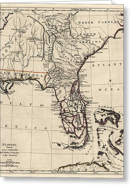 Florida Art Greeting Cards - Antique Map of Florida and the Southeast by Thomas Jefferys - 1768 Greeting Card by Blue Monocle