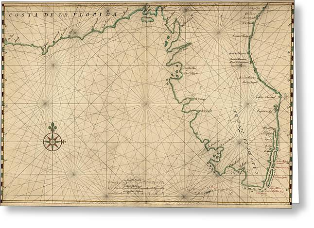 Florida Gulf Coast Greeting Cards - Antique Map of Florida by Joan Vinckeboons - circa 1639 Greeting Card by Blue Monocle