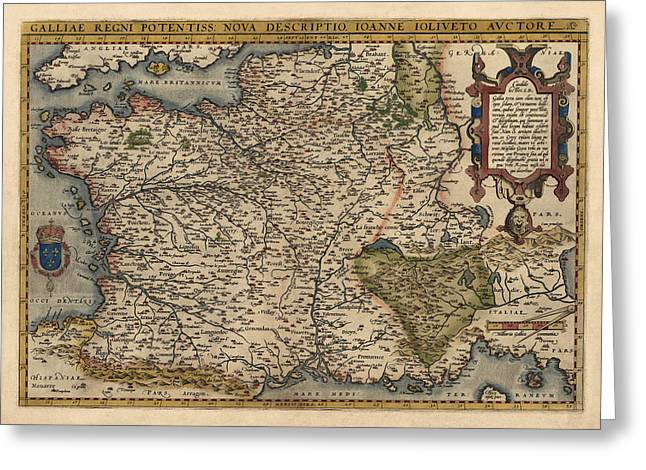 France Map Greeting Cards - Antique Map of France by Abraham Ortelius - 1570 Greeting Card by Blue Monocle