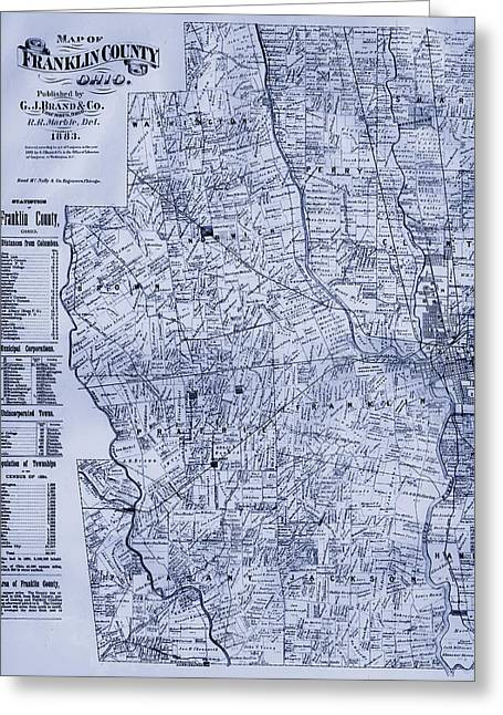 Franklin Drawings Greeting Cards - Antique Map of Franklin County Ohio 1883 Greeting Card by Mountain Dreams