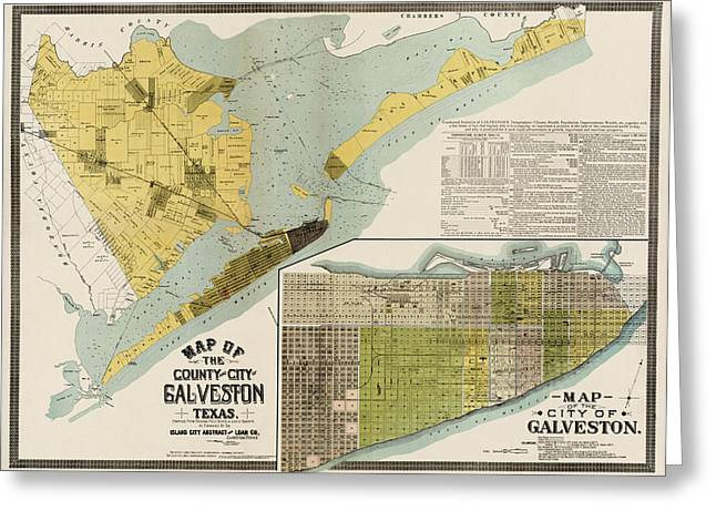 Abstract Drawings Greeting Cards - Antique Map of Galveston Texas by the Island City Abstract and Loan Co. - 1891 Greeting Card by Blue Monocle