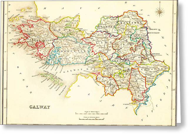 Caribbean Sea Paintings Greeting Cards - Antique Map of Galway Ireland Greeting Card by Celestial Images