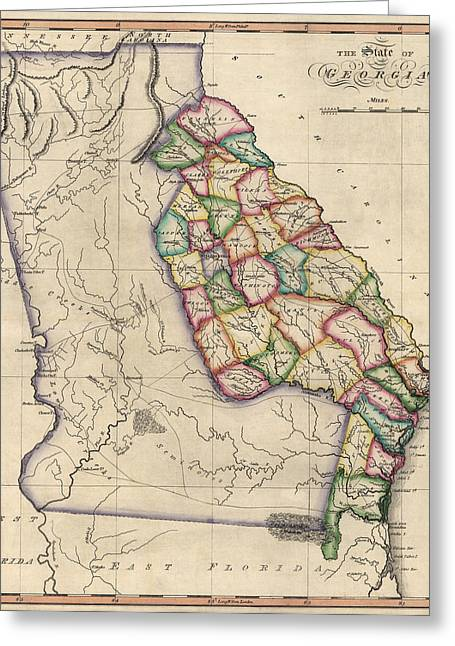 Samuel Drawings Greeting Cards - Antique Map of Georgia by Samuel Lewis - circa 1810 Greeting Card by Blue Monocle