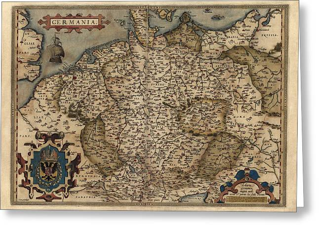 Germany Greeting Cards - Antique Map of Germany by Abraham Ortelius - 1570 Greeting Card by Blue Monocle