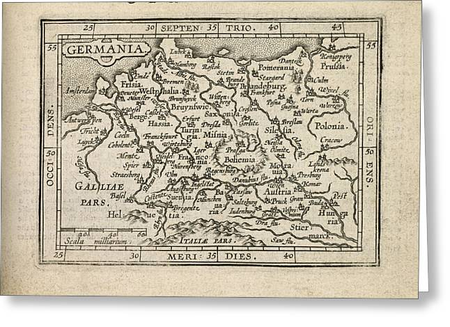 Deutschland Greeting Cards - Antique Map of Germany by Abraham Ortelius - 1603 Greeting Card by Blue Monocle