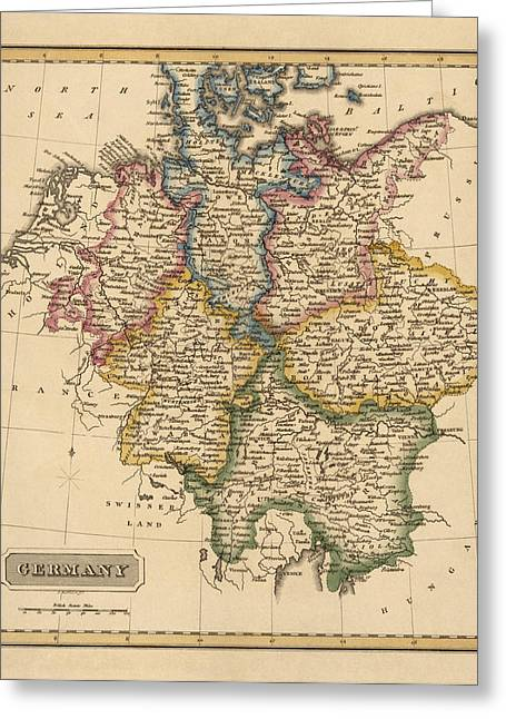 Germany Greeting Cards - Antique Map of Germany by Fielding Lucas - circa 1817 Greeting Card by Blue Monocle