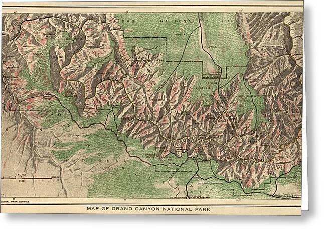 National Park Service Greeting Cards - Antique Map of Grand Canyon National Park by the National Park Service - 1926 Greeting Card by Blue Monocle