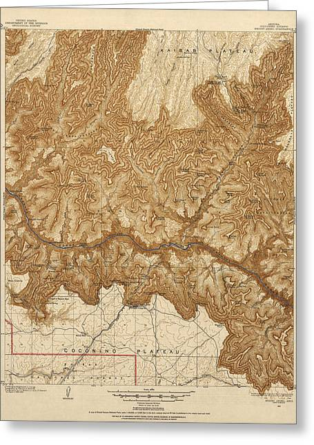 Arizona Drawings Greeting Cards - Antique Map of Grand Canyon National Park - USGS Topographic Map - 1903 Greeting Card by Blue Monocle
