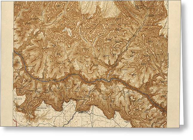 Antique Map of Grand Canyon National Park - USGS Topographic Map - 1903 Greeting Card by Blue Monocle
