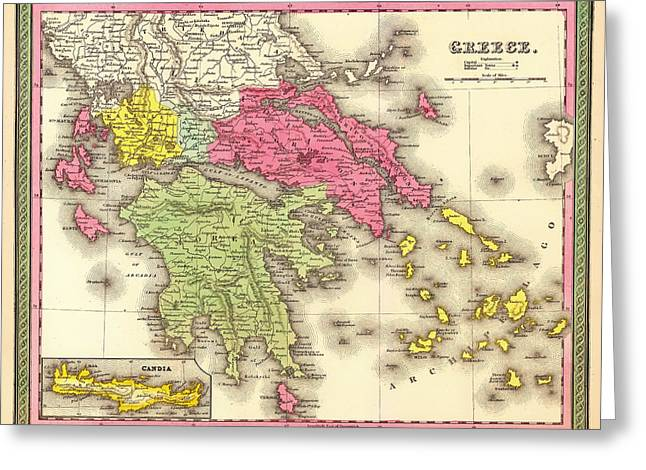 Old Country Roads Drawings Greeting Cards - Antique Map of Greece 1850 Greeting Card by Mountain Dreams