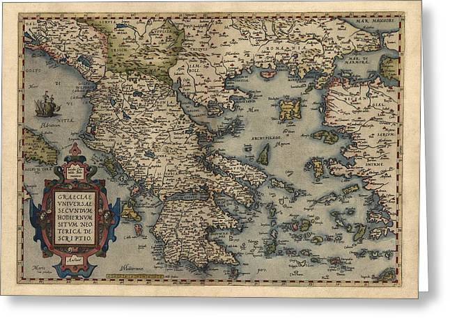 Greece Greeting Cards - Antique Map of Greece by Abraham Ortelius - 1570 Greeting Card by Blue Monocle