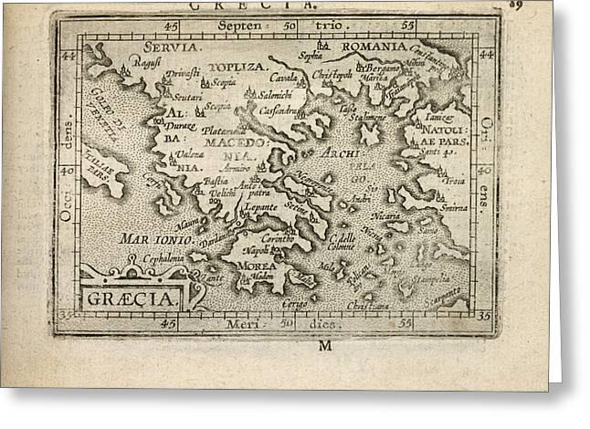 Ortelius Greeting Cards - Antique Map of Greece by Abraham Ortelius - 1603 Greeting Card by Blue Monocle
