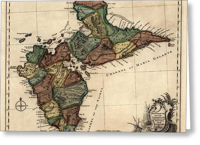 Thomas Drawings Greeting Cards - Antique Map of Guadeloupe by Thomas Jefferys - 1768 Greeting Card by Blue Monocle